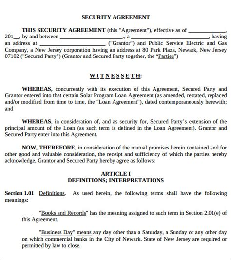 security agreement template security agreement 7 sles exles format