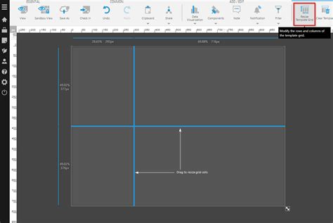 layout grid mode using a template grid for resizing design view