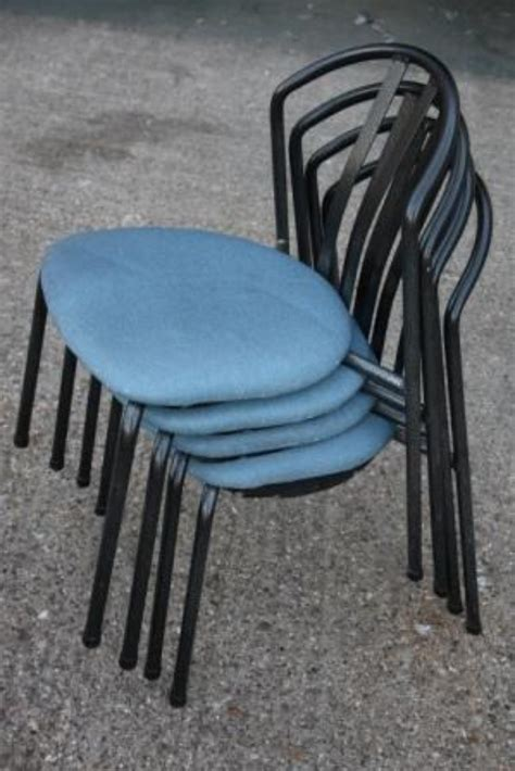 secondhand chairs  tables cafe  bistro chairs metal blue black cushioned canteen