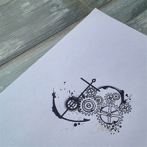 compass tattoo with gears watercolor gears and anchor tattoo design tattoo ideas
