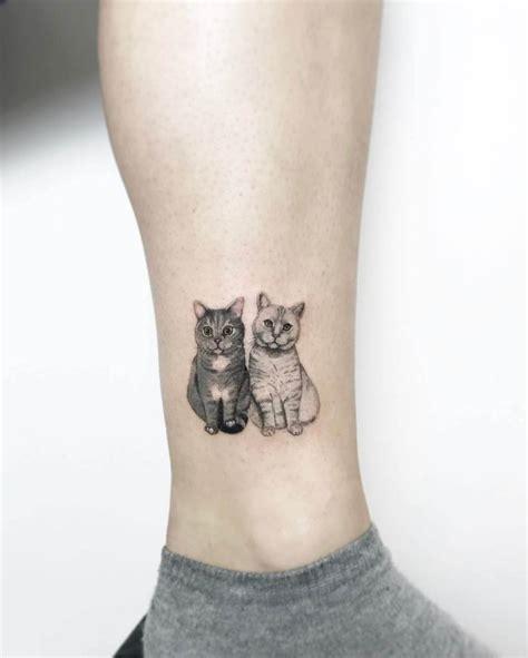 tattoo cat ankle two cats tattoo best tattoo ideas gallery