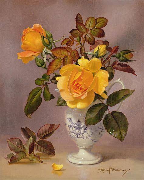 Metal Jug Vase Orange Roses In A Blue And White Jug Painting By Albert