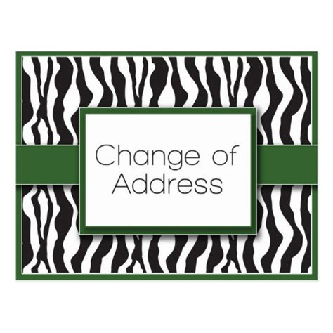 make your own change of address cards green zebra print change of address postcards zazzle