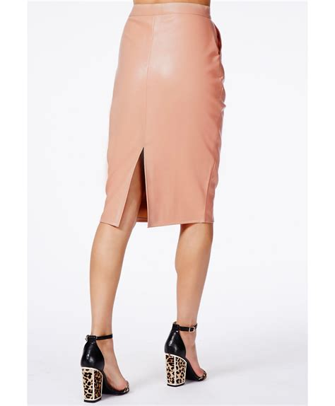 missguided mariota faux leather pencil skirt in