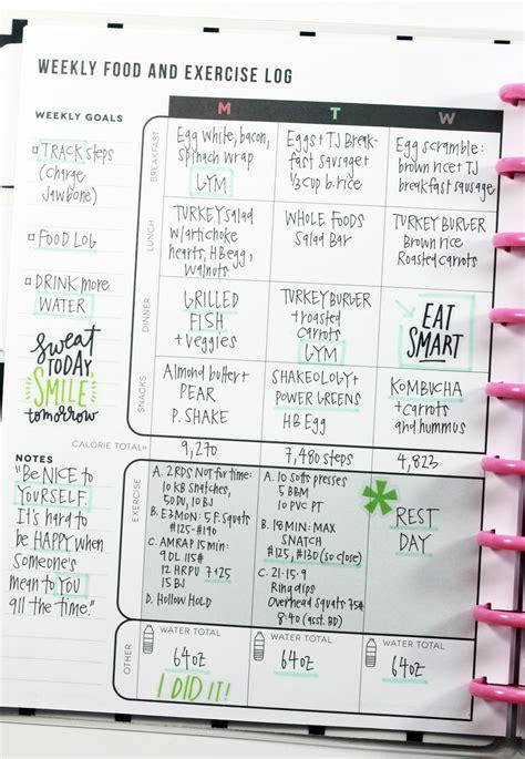 Design Planner Online the fitness planner food amp exercise log added