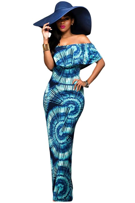 Gradient Maxi Dress new color gradient fanshape print the shoulder maxi dress