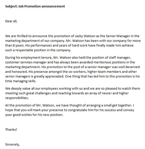 Promotion Announcement Email by Promotion Announcement Writing Professional Letters