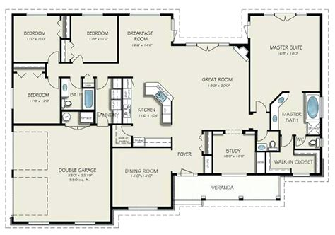 2 story bungalow floor plans 4 bedroom with 2 story great room 89831ah architectural