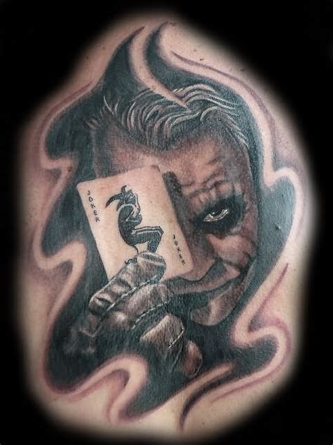 black and grey joker tattoo 34 joker card tattoos