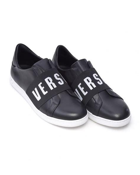 mens versace sneakers versace versus mens trainers black logo band slip on sneakers