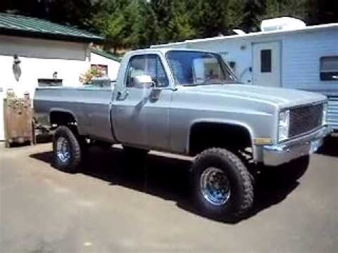 85 lifted chevy with flowmaster 44 series mufflers youtube