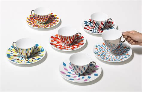 design pattern reflection mirrored teacups that reflect the colorful patterns on the