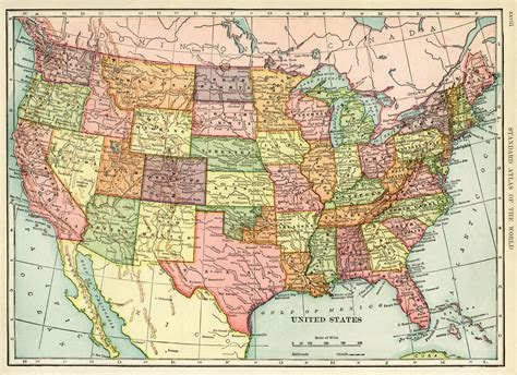 printable detailed map of the united states united states map vintage map download antique map