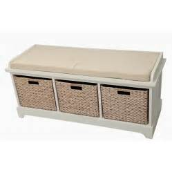 bench with storage baskets gallerie decor newport wooden bedroom storage bench with 3