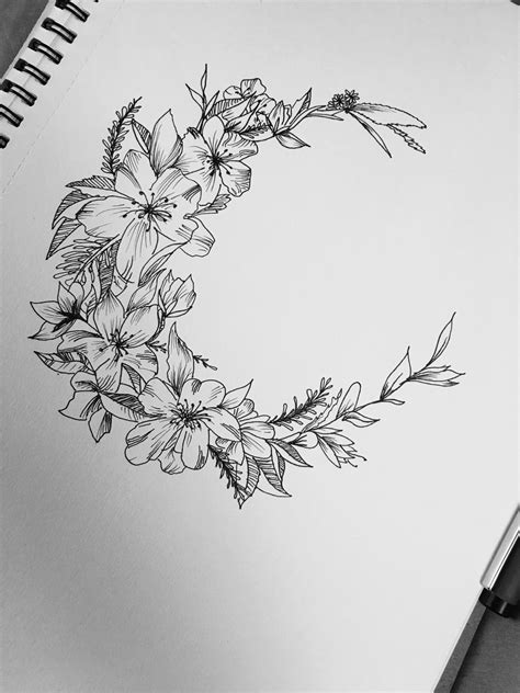 moon flower tattoo design this ones for me floral moon design tattoos for days