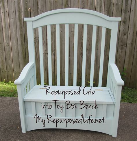 Jenny Lind Changing Table Repurposed Crib Into Toy Box Bench My Repurposed Life