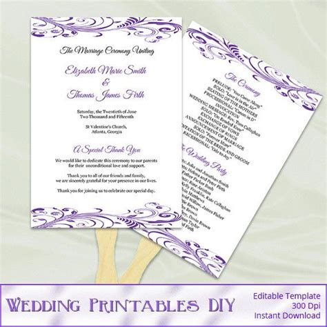 fan program template purple wedding program fans template diy printable
