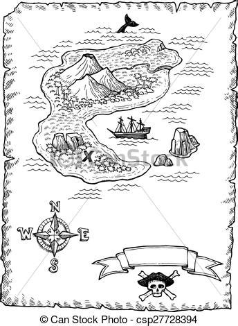 EPS Vectors of Hand-drawn Treasure Map Illustratio - A