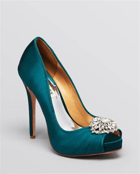 teal shoes heels badgley mischka peep toe evening pumps pedal high heel in