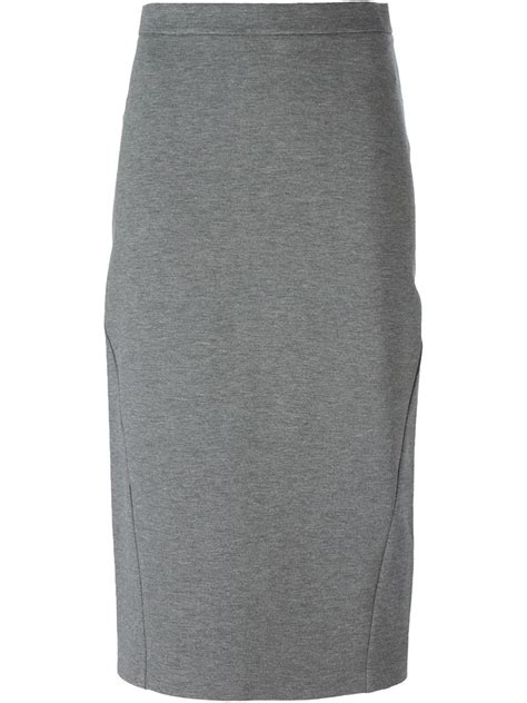 ermanno scervino midi pencil skirt in gray lyst