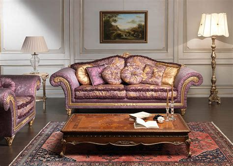 classic violet sofa imperial and carved table vimercati