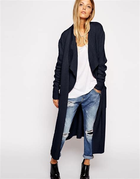 Conventional Knit Cardigan image 1 of asos longline waterfall cardigan in brushed knit style to