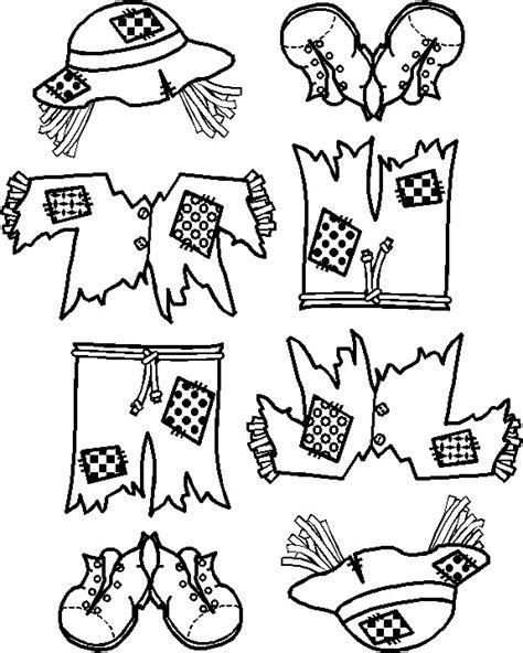 free printable scarecrow template scarecrow clothes coloring pages