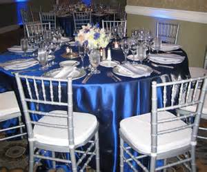 royal blue and silver decor on royal blue
