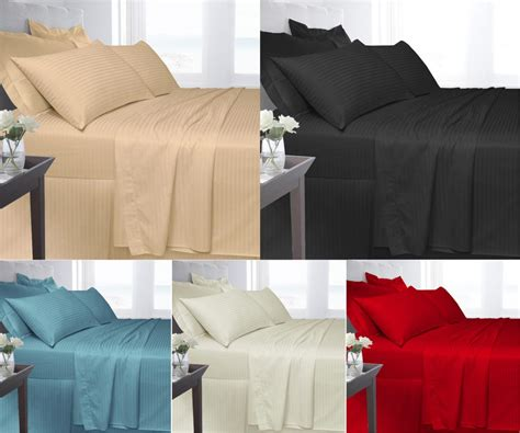 egyptian cotton satin stripe 250 thread flat bed sheet bed