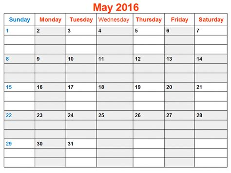 printable calendar template may 2016 may 2016 weekly printable calendar printable calendar