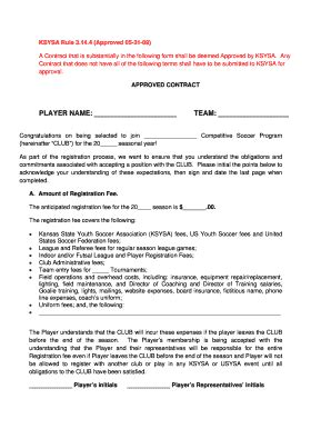 soccer player contract form fill online printable