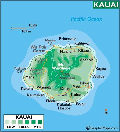 printable map kauai large kauai map