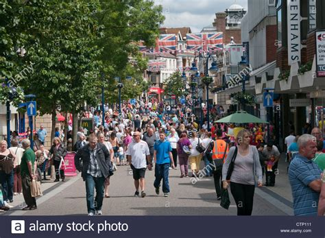 crowded town centre busy with high shoppers