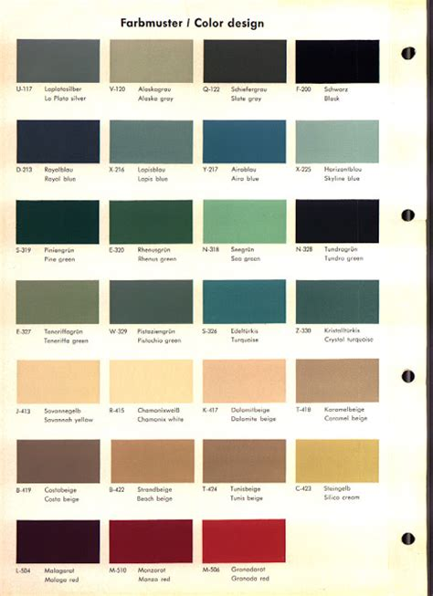 opel rekord a b color chart