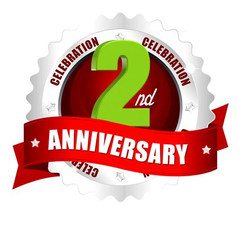 2nd anniversary vector images and logos with red ribbon