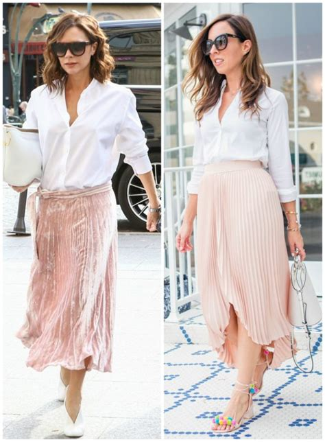 celebrity pink skirt victoria beckham s pleated skirt camilla belle s pom poms