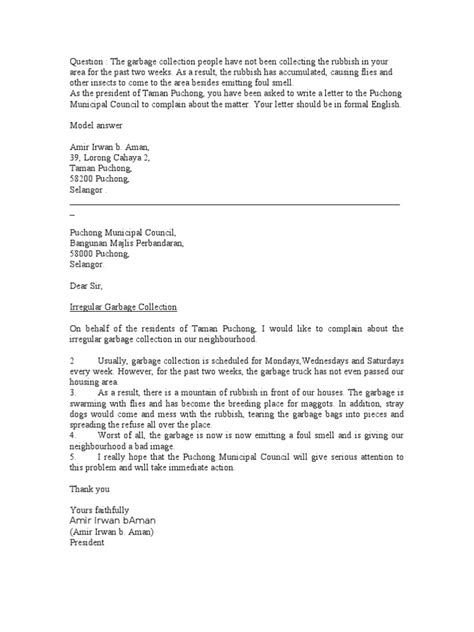 Complaint Letter To Council About Roads Letter Of Complaint Garbage