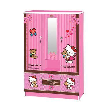 Lemari Kayu Hello Kity Jual Fcenter Hello Best Friend Pink Lemari Kaca 3 Pintu Harga Kualitas