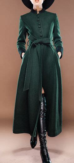 Wool Blend Stand Collar Belt Dress s green wool winter trench coat outerwear with