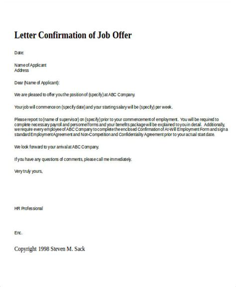 Confirmation Letter Of confirmation letter template 15 free sle exle