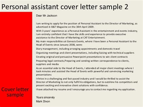 covering letter for personal assistant personal assistant cover letter