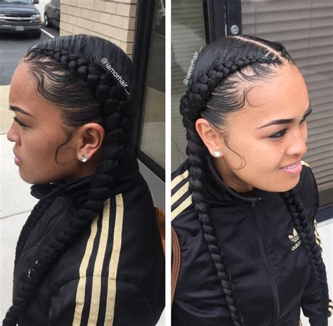 Gallery: Two Braids Hairstyles With Weave,   BLACK