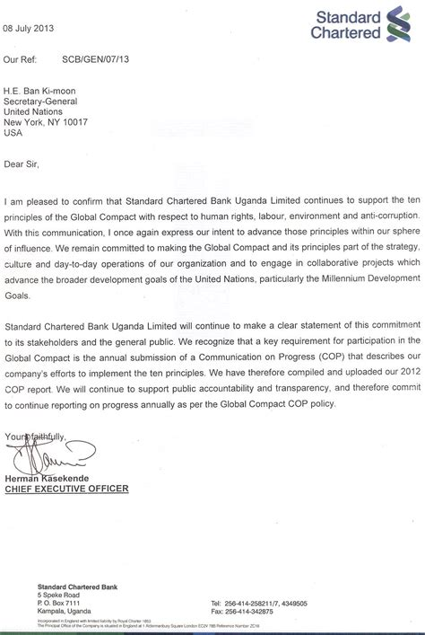 Standard Chartered Bank Letterhead Format standard chartered bank uganda limited communication on