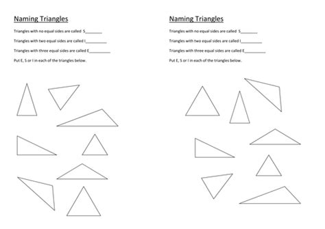 Isosceles And Equilateral Triangles Worksheet by Naming Triangles By Stericker Teaching Resources Tes