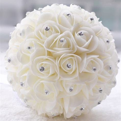 White Wedding Bouquet Flowers by Beautiful White Ivory Artificial Flower Wedding Bouquets
