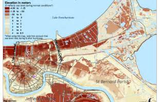 louisiana flood elevation map new orleans and hurricane when the levees failed