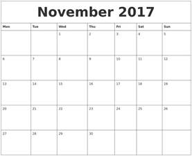 november 2017 blank schedule template
