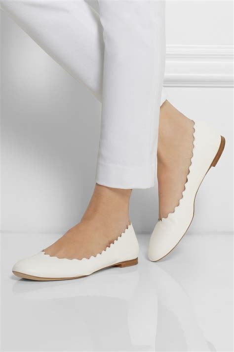 white ballet flats shoes lyst chlo 233 leather ballet flats in white