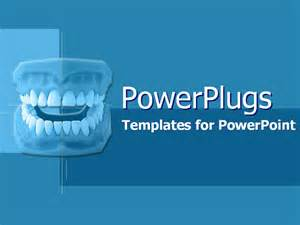 Dental Template by Model Of New Dentures On Blue Powerpoint Template