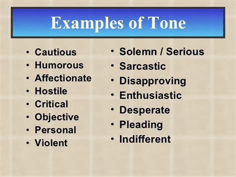 literature authors list exles of tone in a story